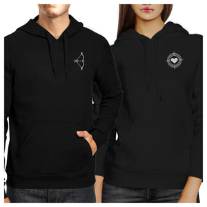Bow And Arrow To Heart Target Matching Couple Black Hoodie