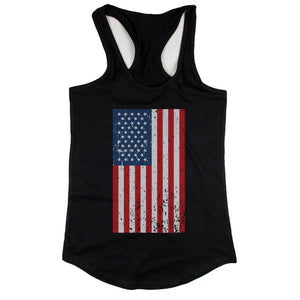 Distressed American Flag Black Women's Tank Top