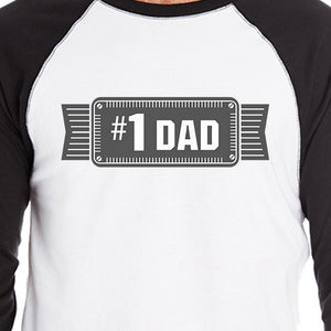 #1 Dad Mens Vintage Design Baseball T-Shirt Unique Gifts For Him - 365INLOVE