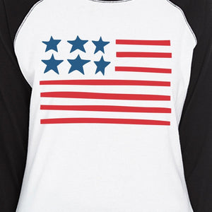 Cute USA Flag Womens 3/4 Sleeve Raglan Shirt For Independence Day - 365INLOVE