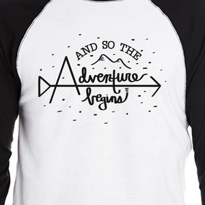 And So The Adventure Begins Mens Black And White Baseball Shirt