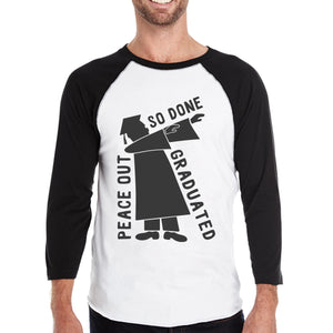 Graduated Dab Dance Mens Black And White Baseball Shirt