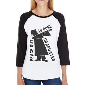 Graduated Dab Dance Womens Black And White Baseball Shirt
