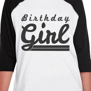 Birthday Girl Black And White Kids Baseball Shirt