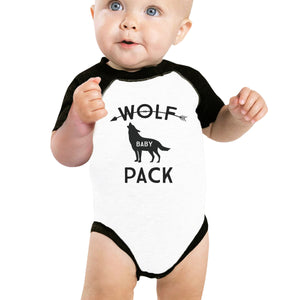 Wolf Pack Papa Mama Baby Baby Black And White BaseBall Shirt