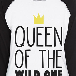 Wild One Crown Womens Black And White BaseBall Shirt