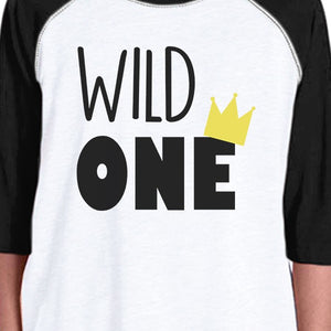 Wild One Crown Kids Black And White BaseBall Shirt