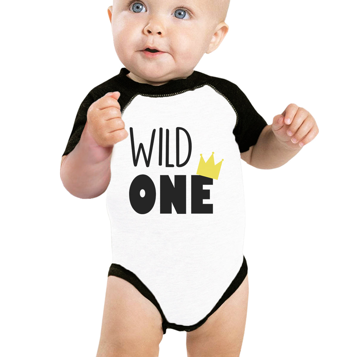 6ee9b524e Wild One Crown Baby Black And White BaseBall Shirt - 365 IN LOVE ...