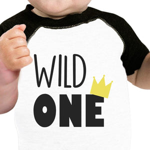Wild One Crown Baby Black And White BaseBall Shirt