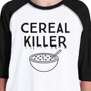 Cereal Killer Kids Black And White Baseball Shirt