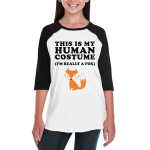 This Is My Human Costume Fox Kids Black And White Baseball Shirt