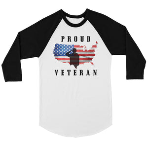 Proud Veteran Mens Graphic Baseball Shirt 4th of July Raglan Tee