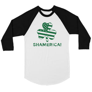 Shamerica Flag Mens Baseball Shirt Funny St Patricks Day Shirt Idea