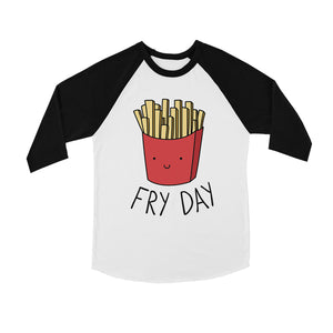 365 Printing Fry Day Youth Baseball Shirt Cute French Fries Raglan Tee for Teens