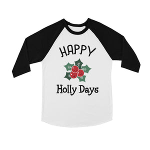 Happy Holly Days BKWT Kids Baseball Shirt