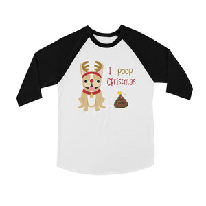 Frenchie Christmas Poop BKWT Kids Baseball Shirt