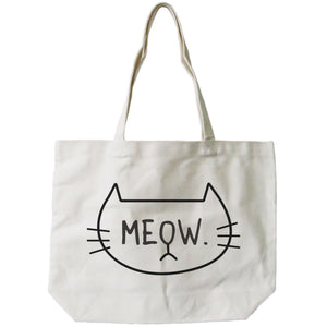 Meow Cute CatLady Design Printed Tote Canvas Bag Great Gift Idea - 365INLOVE
