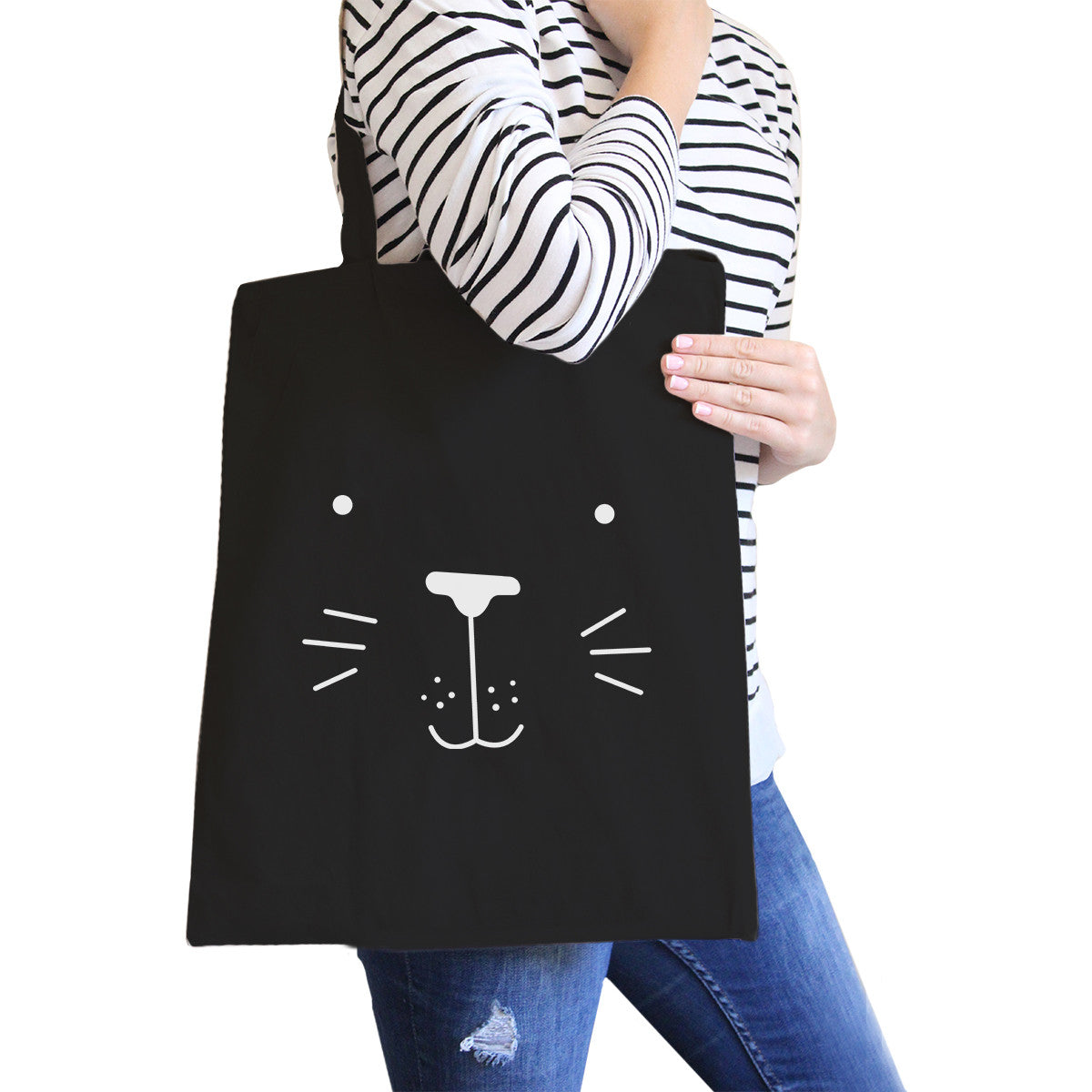 0af1e0878f Seal Cute Face Black Canvas Bag Back To School Gift Tote Bags - 365 ...
