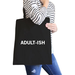 Adult-ish Black Canvas Bag Trendy Varsity Tote For College Students - 365INLOVE