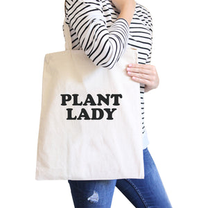 Plant Lady Natural Reusable Grocery Bag Cute Design Canvas Tote Bag - 365INLOVE