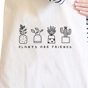 Plants Are Friends Natural Canvas Bag Unique Design Gifts For Her - 365INLOVE
