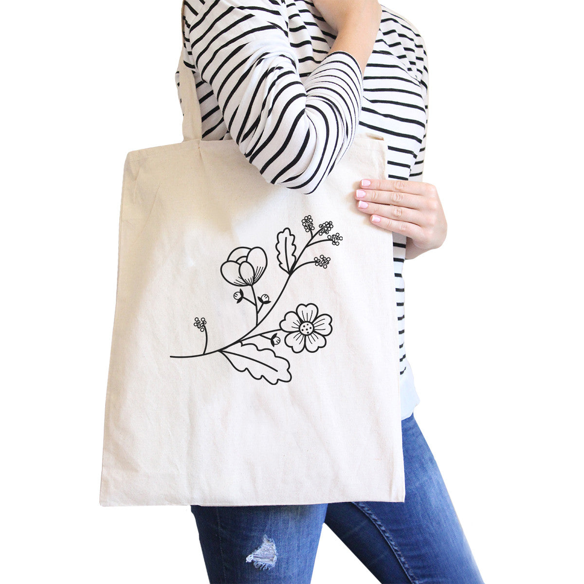 8cfacb22bbd Flower Natural Canvas Tote Bag Lovely Design Gift Ideas For Friends ...
