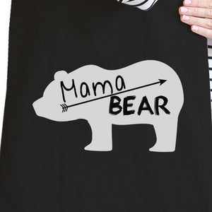 Mama Bear Black Canvas Tote Bag Trendy Design Cute Gifts For Her - 365INLOVE