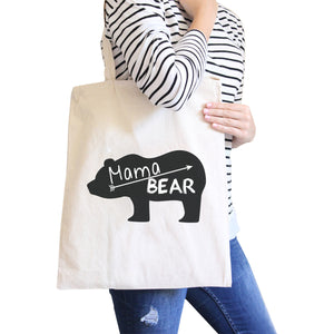 Mama Bear Natural Canvas Shoulder Bag Trendy Graphic Gift For Her - 365INLOVE