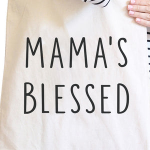 Mama's Blessed Natural Canvas Tote Bag Simple Design Funny Graphic - 365INLOVE