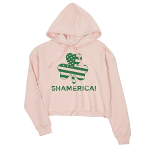 Shamerica Flag Womens Crop Hoodie Pullover Saint Paddy's Day Shirt