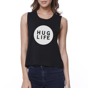 Hug Life Women's Black Crop Top Cute Design Love For Life Quote - 365INLOVE