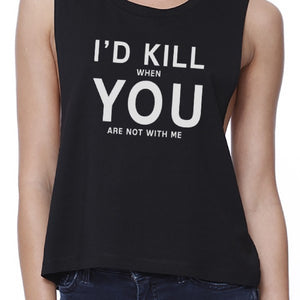 I Hate You Women's Black Crop Tee Creative Gifts For Anniversaries - 365INLOVE