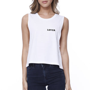 Lover Women's White Crop Shirt Simple Letter Gift Ideas For Couples - 365INLOVE