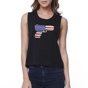 Pistol American Flag Womens Black Crop Tee Gifts For Gun Supporters - 365INLOVE