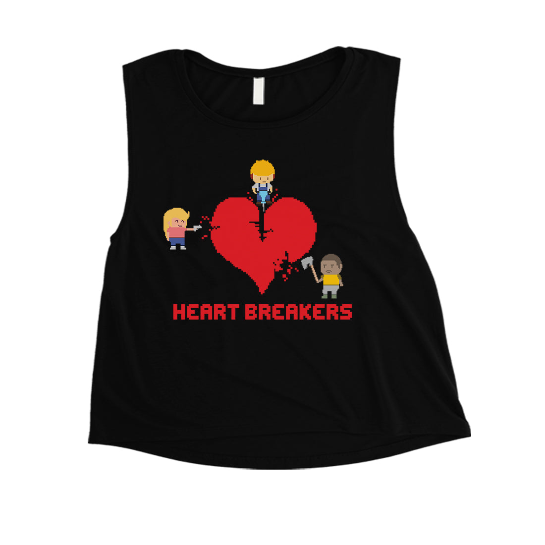 0028b8da96bb07 Heart Breakers Womens Cute Graphic Workout Crop Top Gift For Her ...