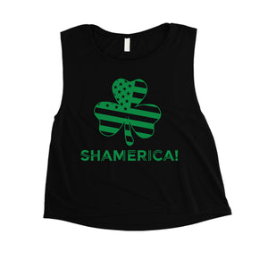Shamerica Flag Womens Crop Tank Top Cute Saint Paddy's Day Shirt