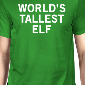 World's Tallest Elf Green Unisex T-shirt Cute Christmas Graphic Tee - 365INLOVE