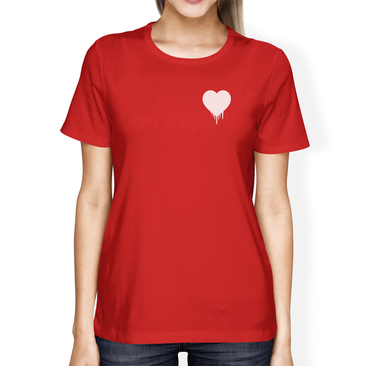 Melting Heart Women's Red T-shirt Cute Graphic Gift Ideas Birthdays