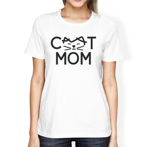 Cat Mom Women's White Graphic T Shirt Cat Paw Design Gift Ideas - 365INLOVE