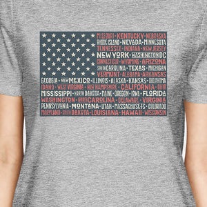 50 States US Flag American Flag Shirt Womens Grey Cotton T-Shirt - 365INLOVE