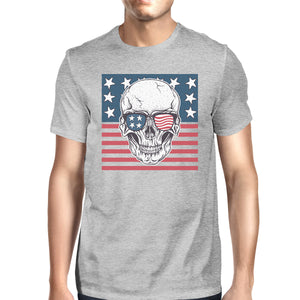 Skull American Flag Shirt Mens Gray Round Neck Tee Gifts For Dad - 365INLOVE