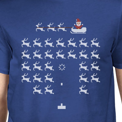 d0e5c362c6167d Pixel Game Santa And Rudolph Mens Royal Blue Shirt - 365 IN LOVE - Matching  Gifts Ideas