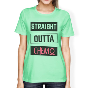 Straight Outta Chemo Breast Cancer Womens Mint Shirt