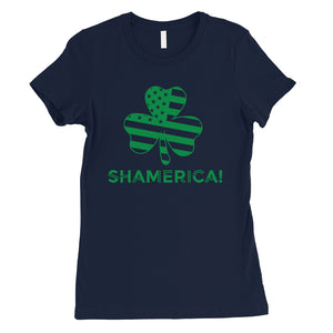 Shamerica Flag Womens Cute St Patricks Outfit Cute Irish T-Shirt