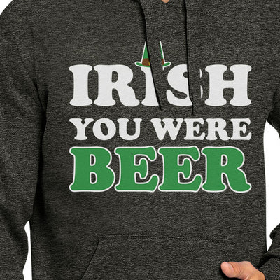 Details about  /Irish You Were Beer Dark Grey Witty Quote Hoodie For St Patricks