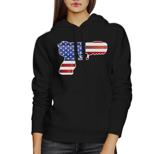 American Flag With Pistol Shape Unisex Black Hoodie For 4th Of July - 365INLOVE