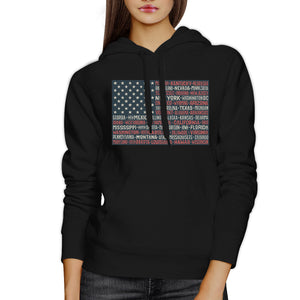 50 States Us Flag Unisex Black Hoodie Crewneck Pullover Graphic Top - 365INLOVE