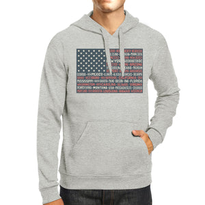 50 States Us Flag Unisex Grey Hoodie Crewneck Pullover Graphic Top - 365INLOVE