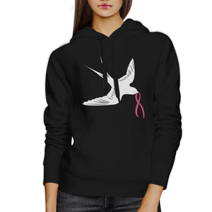 Pink Ribbon And Swallows Birds Hoodie