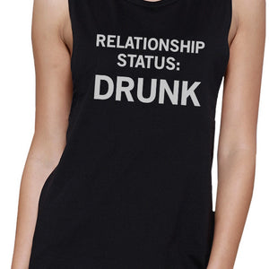 Relationship Status Women's Black Muscle Tank Top Funny Gift Ideas - 365INLOVE